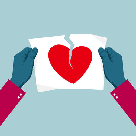 Tearing the heart symbol using both hands. Isolated on blue background. Иллюстрация