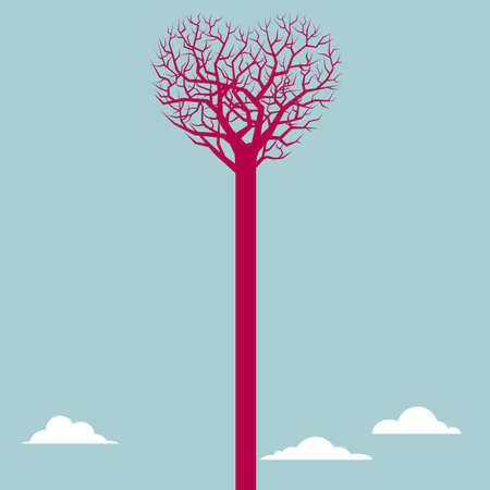 Tree and heart symbol. Isolated on blue background. Illustration