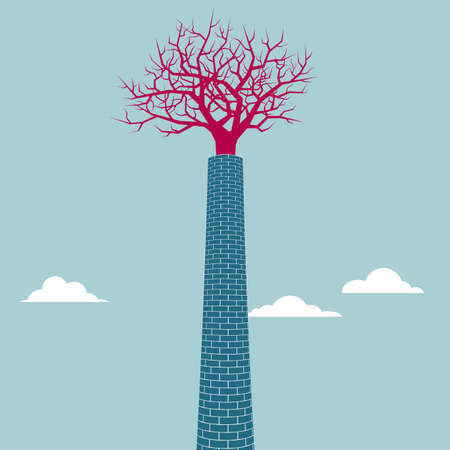 The tree is in the chimney. Isolated on blue background. Illustration