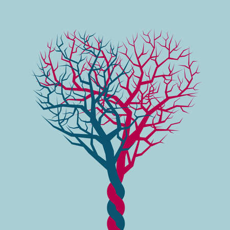 Heart-shaped tree isolated on blue background.
