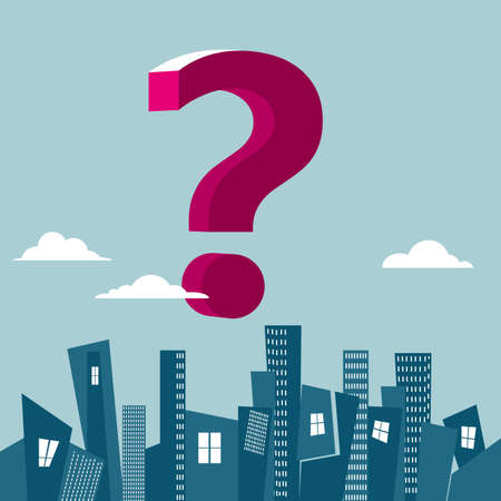 Question marks on top of urban buildings. Isolated on blue background.