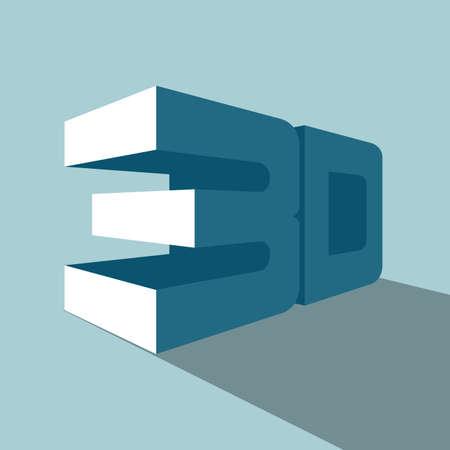 3D-Symbol. Auf blauem Hintergrund isoliert. Vektorgrafik