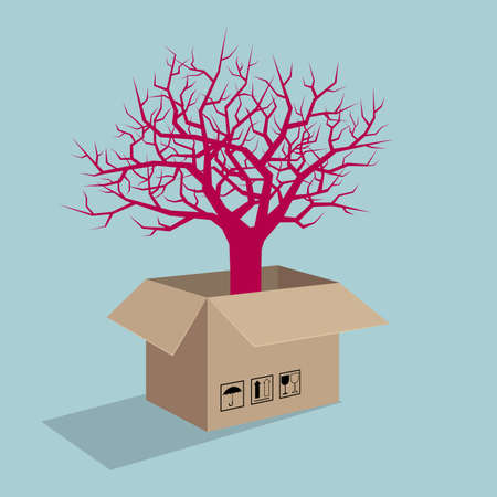 Tree in carton. Isolated on blue background. Illustration