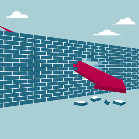 Arrow breaking through brick wall. Isolated on blue background.