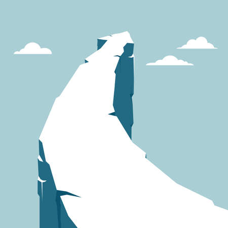 Arrow shaped mountain. Isolated on blue background.