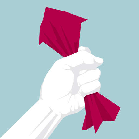 Hand squeeze paper. Isolated on blue background. Ilustrace