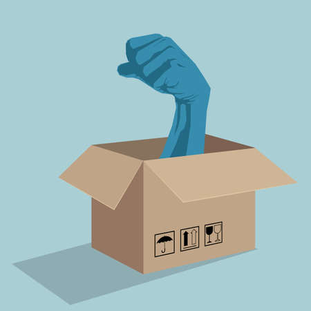 Fist leaned out of the box.  Isolated on blue background.