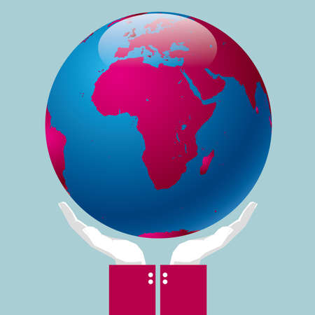 A globe with hands. Isolated on blue background.
