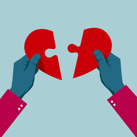 Hands assemble the heart symbol. Isolated on blue background. Ilustrace
