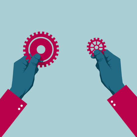 Hands holding gear equipments. Isolated on blue background. Ilustrace