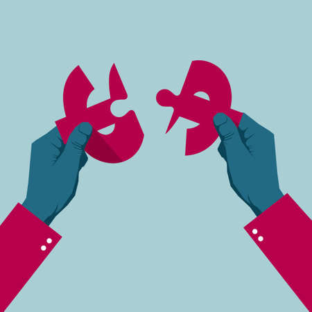 Hands assemble dollar sign. Isolated on blue background.