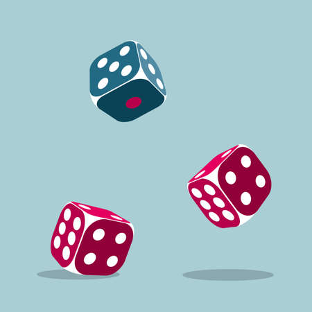 Vector drawn dice. Isolated on blue background.