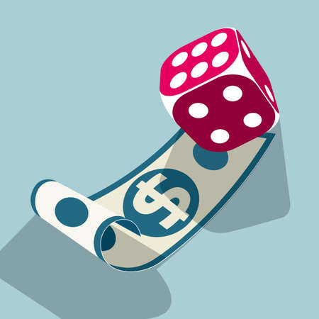 Dollar banknotes and dice. Isolated on blue background.
