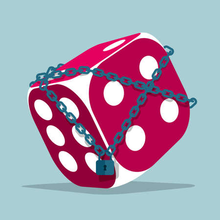 The imprisoned dice. Isolated on blue background.