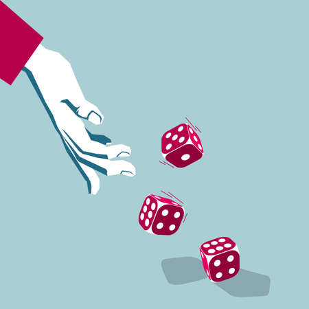 Throw the dice. Isolated on blue background.