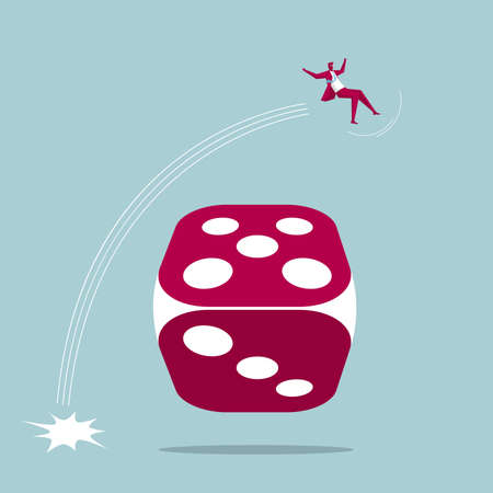 Businessman jumps over the dice. Isolated on blue background. Ilustrace