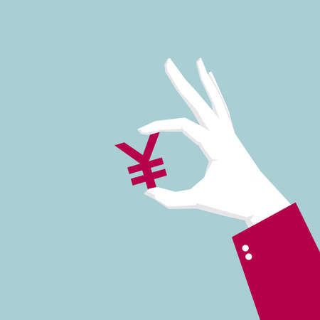 Fingers take the yuan symbol. Isolated on blue background.