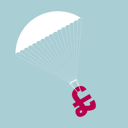 Airdrops use parachutes for wealth. Isolated on blue background. Ilustrace