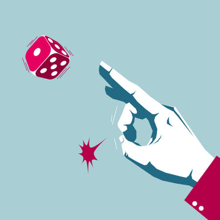 Hand playing dice, gambling behavior. Isolated on blue background.