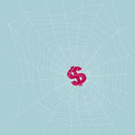 The means to obtain wealth. Isolated on blue background. Ilustração