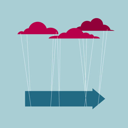The arrow hangs in the air. Isolated on blue background. Ilustrace