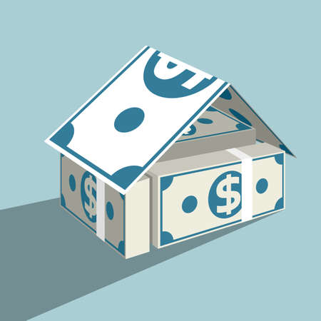 Financial real estate concept design. Isolated on blue background.