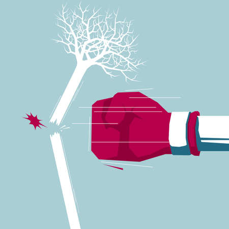 The fist hit the tree. Isolated on blue background. Illustration