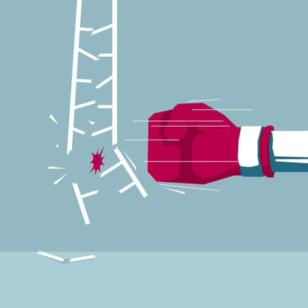 The fist hit the ladder. Isolated on blue background.