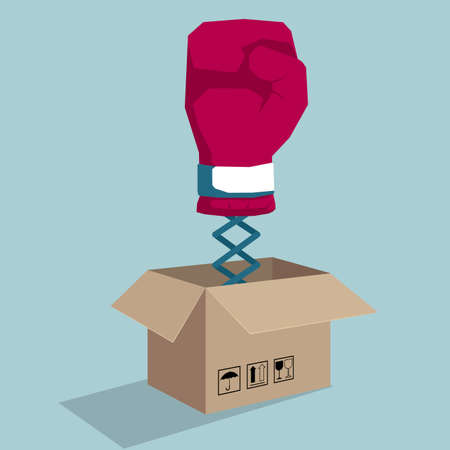 Boxing glove coming out of carton. Isolated on blue background.