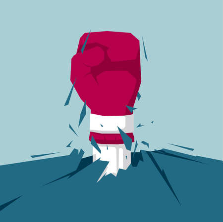 The fist broke through the ground. Isolated on blue background. Illustration