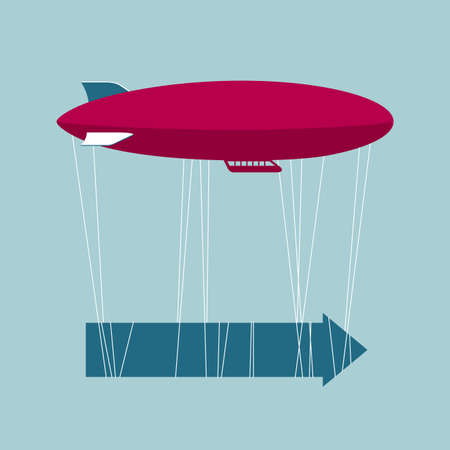 Airship and arrows. Isolated on blue background.