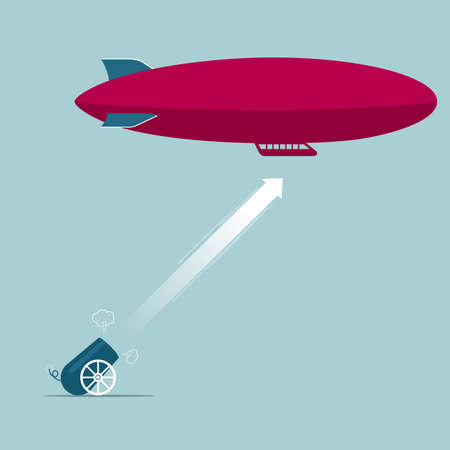 The airship was attacked. Isolated on blue background.