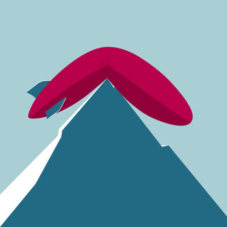 The airship landed on the mountain. Isolated on blue background. Ilustração