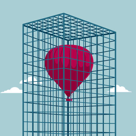 The hot air balloon is in the cage. Isolated on blue background.