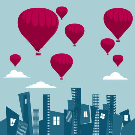 Vector drawn hot air balloon. Over the city. The background is blue. Ilustração