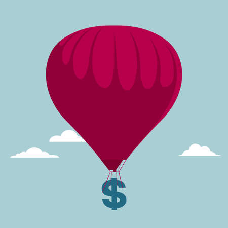 Air transport wealth. Isolated on blue background. Illustration