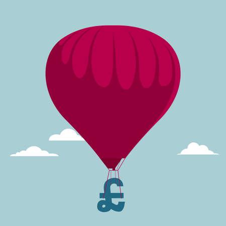 Air balloon with money symbol. Isolated on blue background. Ilustração