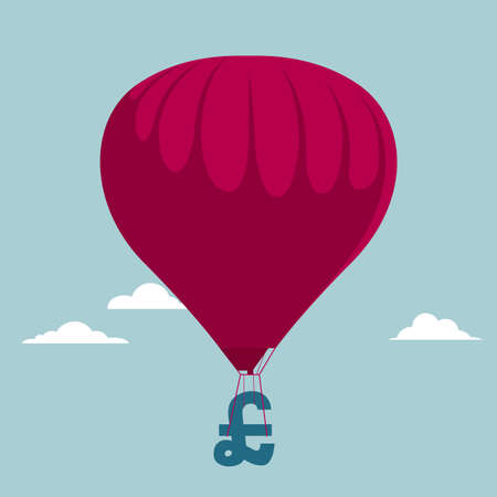 Air balloon with money symbol. Isolated on blue background. Illustration