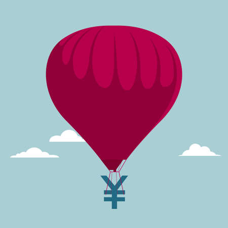 Air balloon with money symbol. Isolated on blue background. Ilustrace