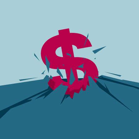 Dollar symbol on cracked ground. Isolated on blue background. Illustration