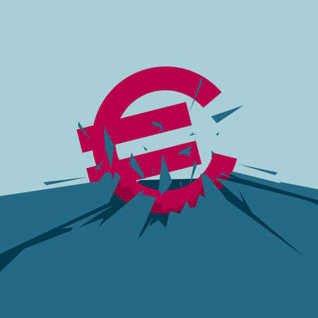 Euro symbol on cracked ground. Isolated on blue background.