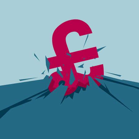 Pound symbol on cracked ground. Isolated on blue background. Illustration