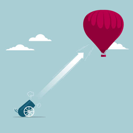 The cannon attacking hot air balloon. Isolated on blue background.