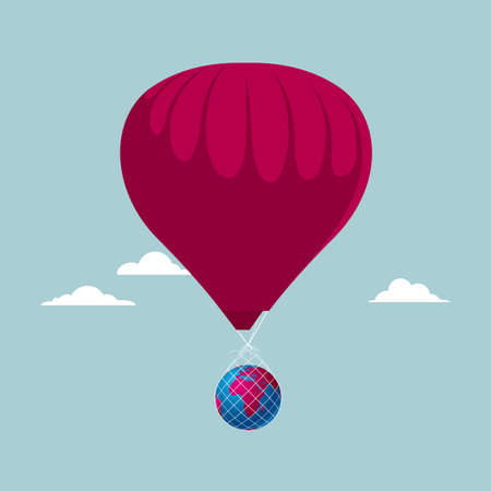 Hot air balloon carrying the globe. Isolated on blue background.