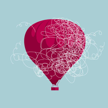 Rope wrapped around a hot air balloon on blue background Illustration