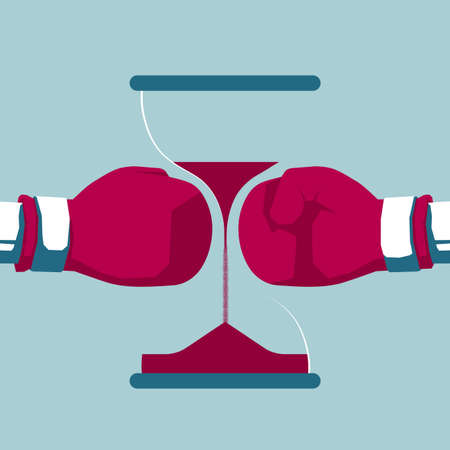 Boxing gloves and hourglass. Isolated on blue background. Illustration