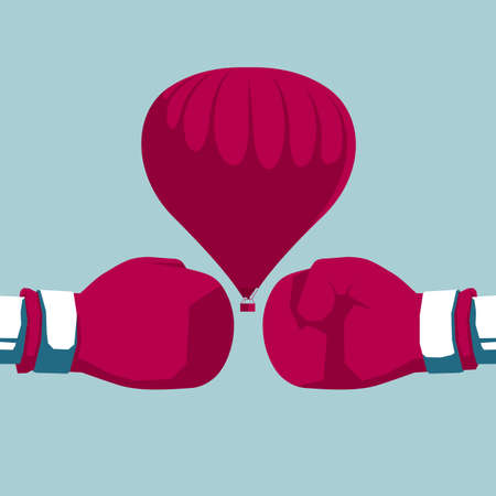 Boxing gloves and hot air balloon. Isolated on blue background.