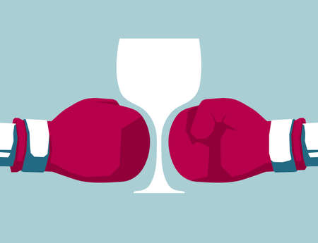 Boxing gloves and wine glass. Isolated on blue background. Illustration