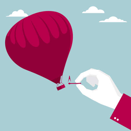 Ignite hot air balloon. Isolated on blue background. Ilustração