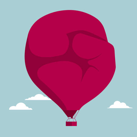 Boxing glove shaped hot air balloon. Isolated on blue background.